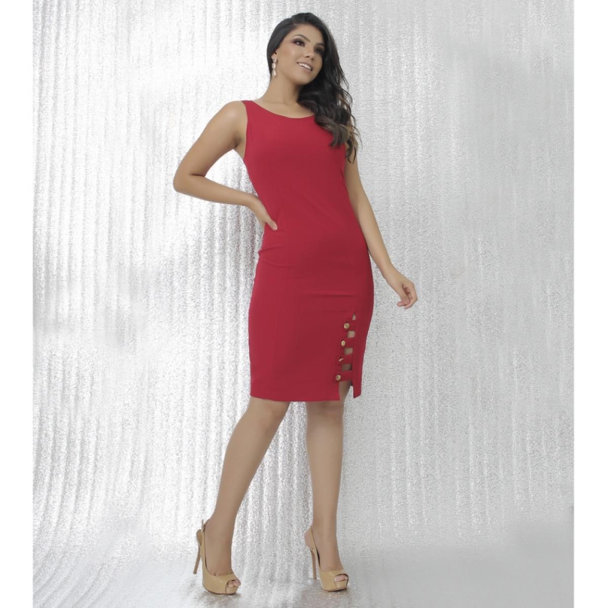 Vestido vermelho detalhes ilhós